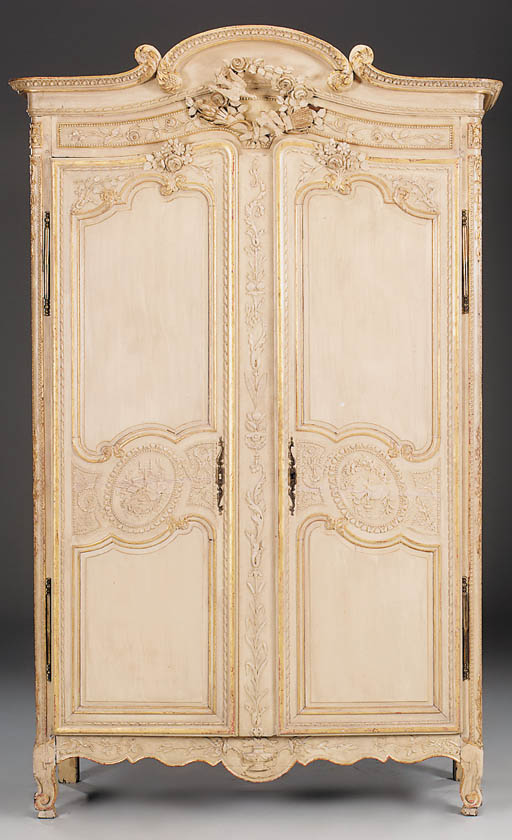A French cream painted armoire