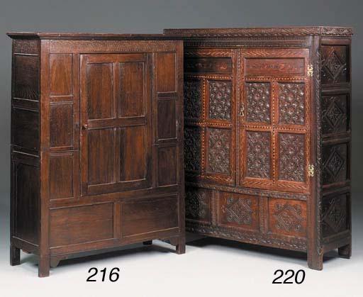 An oak cupboard, late 17th cen
