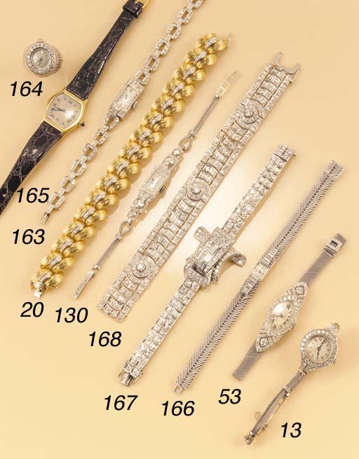 A lady's diamond wristwatch,