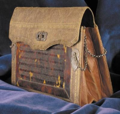 A rectangular leather reticule