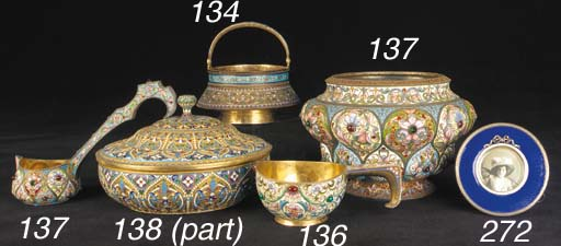 A Russian punch bowl and ladle