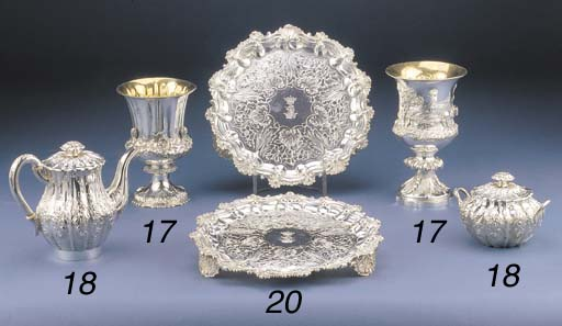 A PAIR OF GEORGE IV SILVER SAL