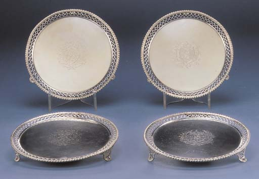 FOUR GEORGE III SILVER SALVERS
