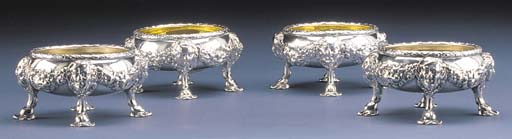 FOUR GEORGE II SILVER SALTS