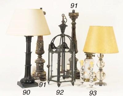A brass lantern of hexagonal o