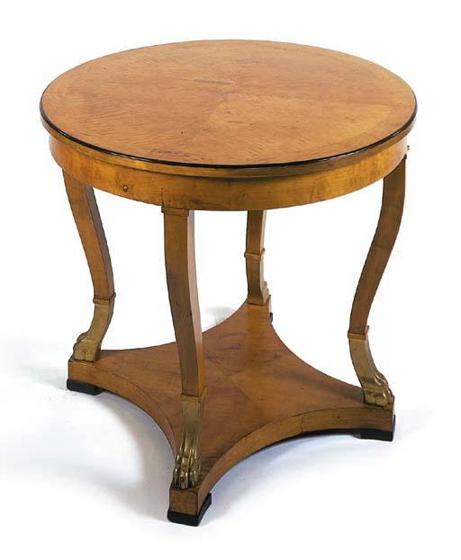 A satinbirch centre table, 20t