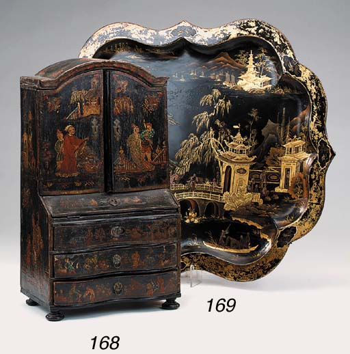 A Victorian japanned and gilt