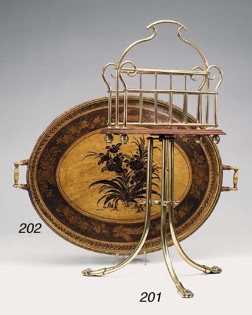 An English brass and oak mount