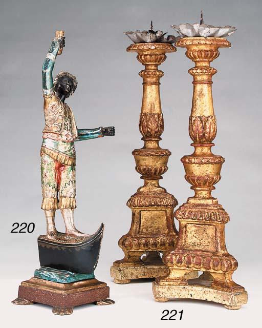 A Venetian carved, polychrome