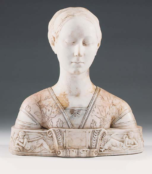 A carved marble and alabaster