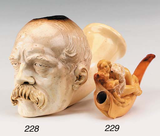 A large carved Meerschaum pipe