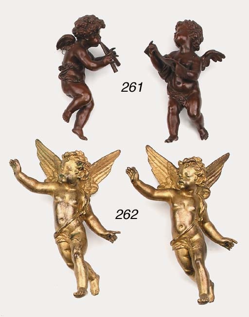 A pair of gilt bronze decorati