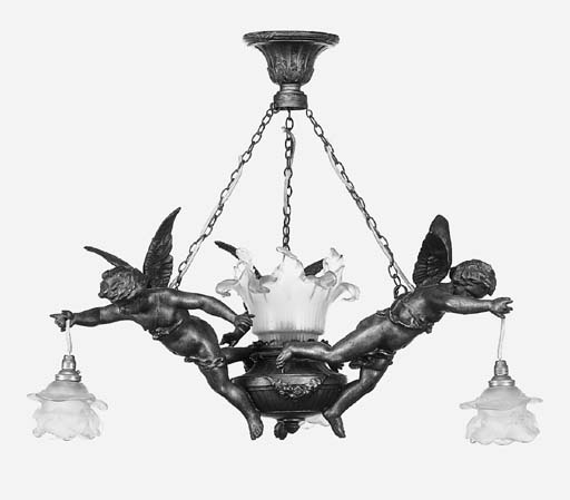 A French spelter four light el