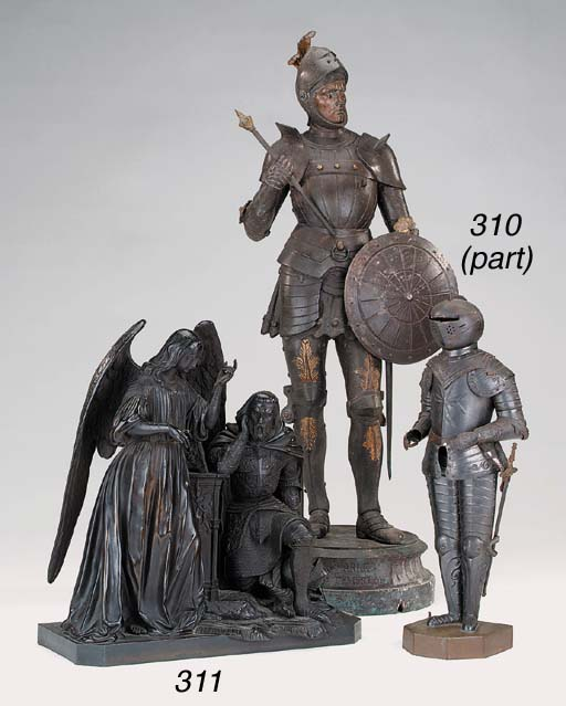 A spelter figure of a knight,