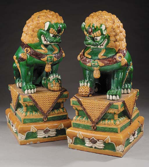 A pair of Chinese glazed earth