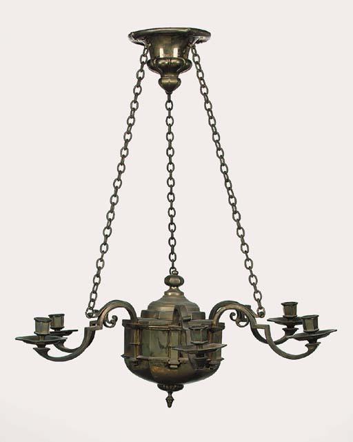 An English brass six light cha