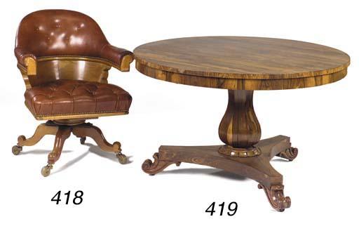 A Victorian oak desk chair