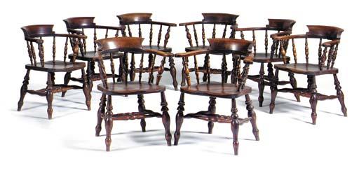 A set of eight Victorian beech