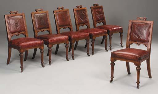 A set of six Victorian oak sid