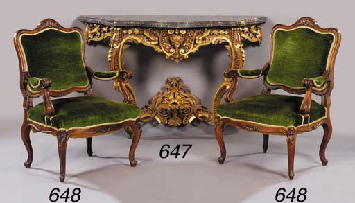 A giltwood marble topped conso