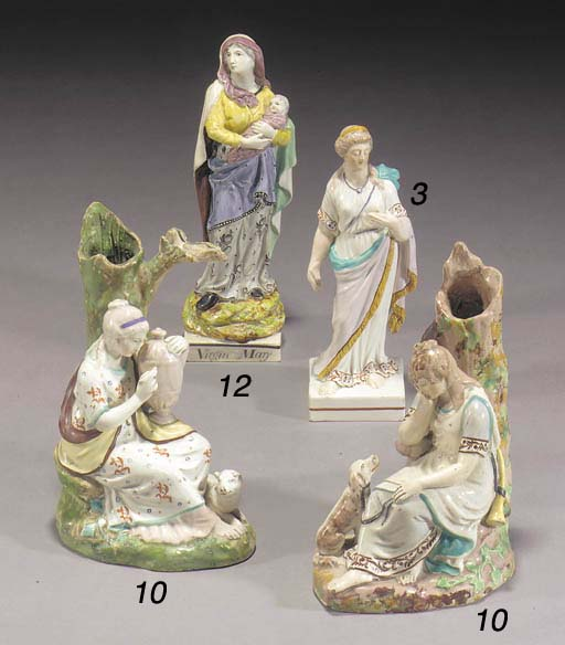 Two pearlware spill vase figur