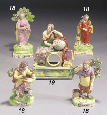 Two pearlware figures of St. L