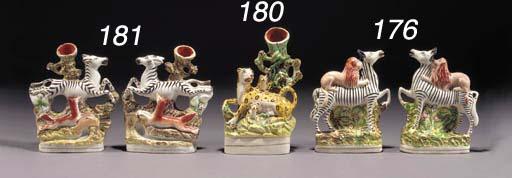 Two spill vase groups of zebra