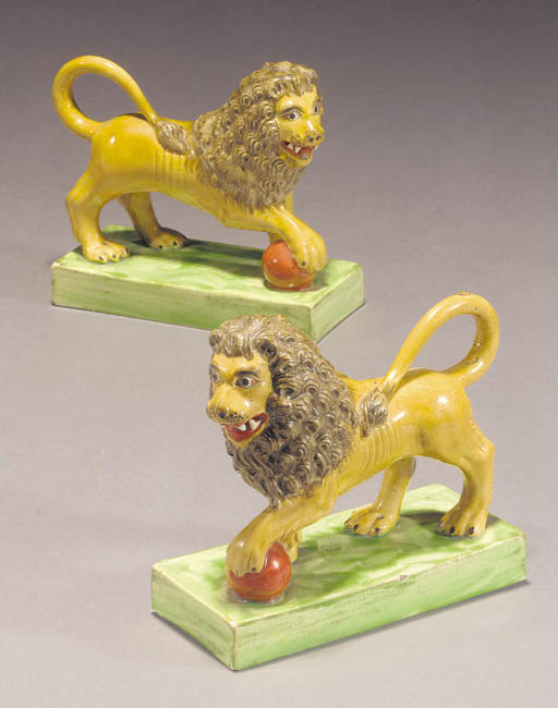 A pair of pearlware models of