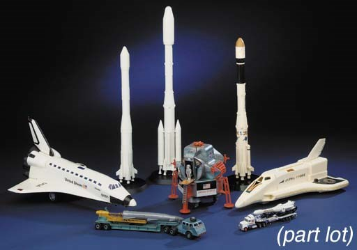 A collection of space toys and