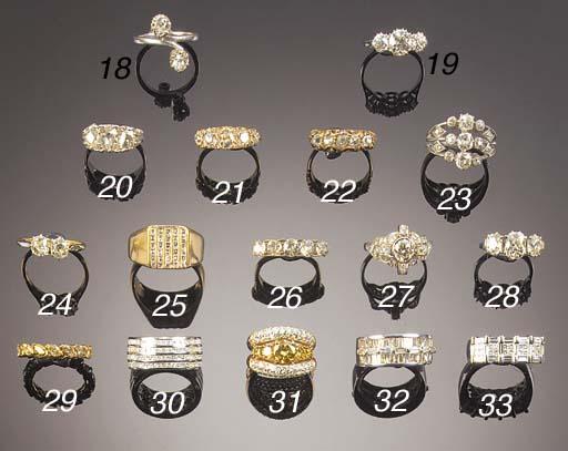 A diamond two stone ring, a ba