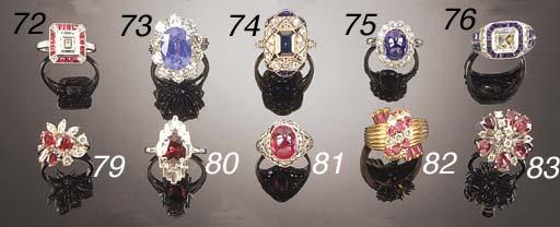 A diamond and cabochon sapphir