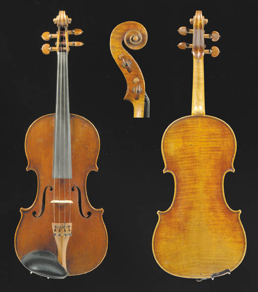 A fine English violin, ascribed to Joseph Panormo, signed internally J. Panormo; two-piece back of faint narrow curl, the varnish of a red-brown colour, the length of back 13 7/8in (351mm), with case and silver-mounted bow stamped Lefin