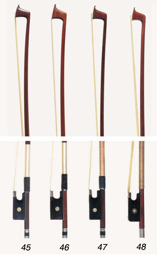 A silver-mounted violin bow by