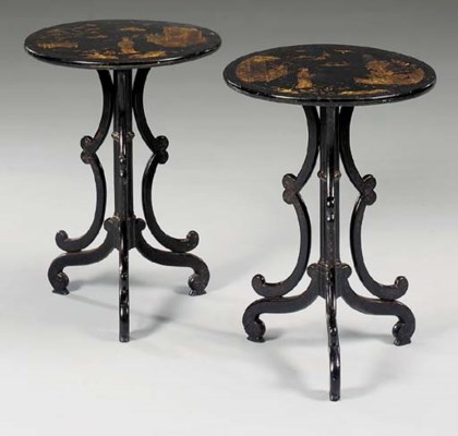 A pair of black lacquered and