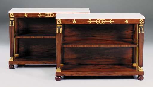 A pair of mahogany and giltmet