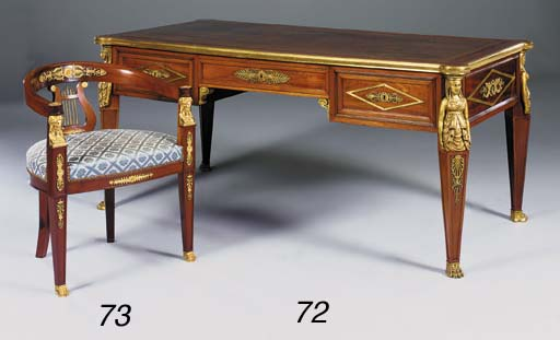 A mahogany and giltmetal mounted desk, tub chair, 20th century
