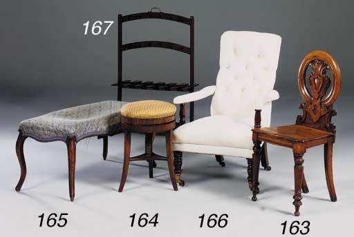 A Victorian walnut long stool