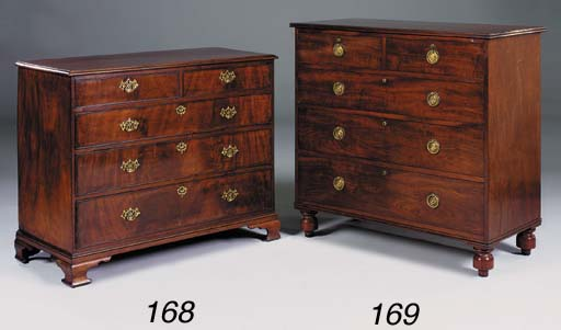 A mahogany chest of drawers, e