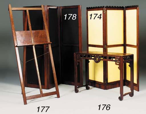 A mahogany three fold screen,