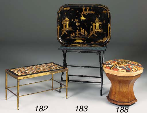 A chinoiserie black and gold tole peinte tray, 19th century on later stand