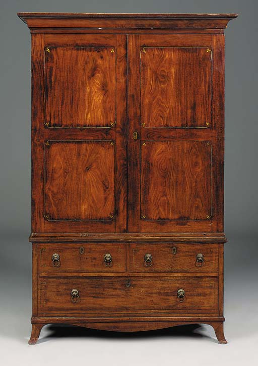A colonial mahogany and brass