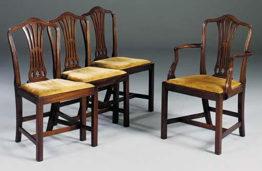 A set of eight mahogany dining