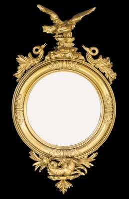 A giltwood convex mirror, 19th