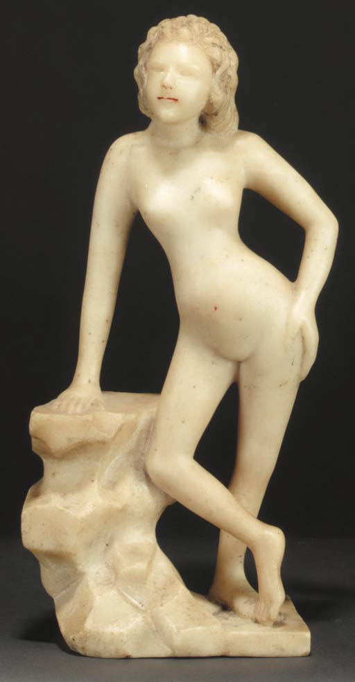 A Chinese alabaster figure of