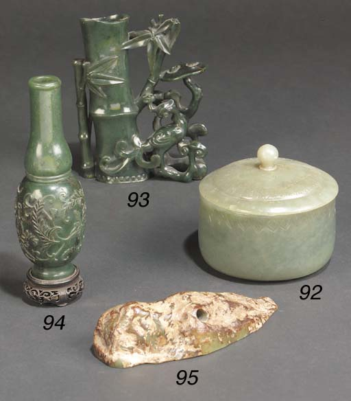 A Chinese spinach jade vase 19