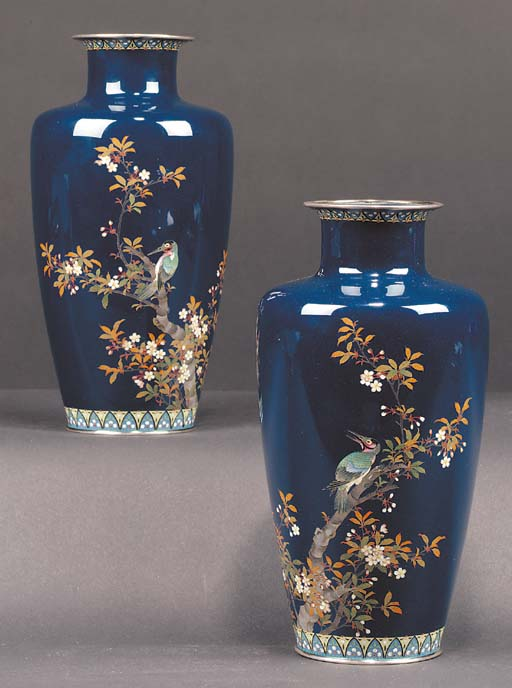 A pair of Japanese cloisonne v