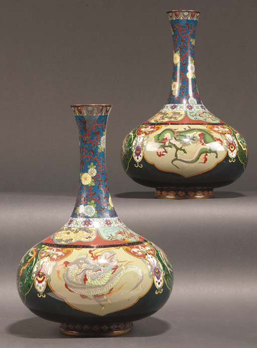 A pair of Japanese cloisonne b