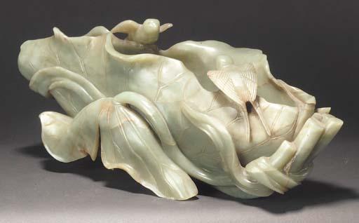 A large Chinese celadon jade l