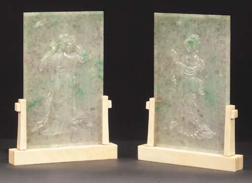 A pair of Chinese jadeite pane