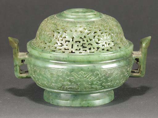 A Chinese spinach jade censer